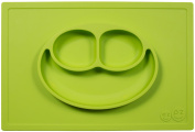 ezpz Happy Mat (Lime) - One-piece silicone placemat + plate
