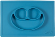 ezpz Happy Mat (Blue) - One-piece silicone placemat + plate