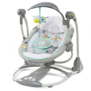 Portable Ingenuity ConvertMe Swing-2-Seat Swing for Baby | Machine Washable Seat Pad & Head Support | Swing Timer & WhisperQuietTM Operation