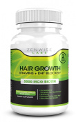 Hair Growth Vitamins Supplement with 5000mcg of Biotin & DHT Blocking Ingredients - Packed with Essential Vitamins and Antioxidants that Address Deficiencies Shown to Cause Hair Loss and Baldness - 120 Vegetarian Pills to Help Boost Hair Growth & Shine ..