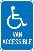 "Accuform Signs FRA117RA Engineer-Grade Reflective Aluminium Handicapped Parking Sign (Federal), Legend ""VAN ACCESSIBLE"" with Graphic, 46cm Length x 30cm Width x 0.2cm Thickness, White on Blue"