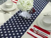 Navy Blue & White Stars Table Runner