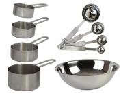 Tiger Chef 9-Piece Deluxe Stainless Steel Measuring Cup and Measuring Spoon Set - BONUS Mixing Bowl - Commercial Quality - NSF Certified - Lifetime Guaranteed