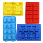 Zicome Set of 4 Candy Moulds and Ice Cube Trays - Lego Building Bricks and Figure Moulds for Lego Lovers