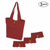 Simple Ecology Organic Cotton Folding Tote with Closure - Red