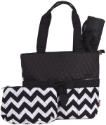 Black Chevron Quilted Nappy Bag with Changing Pad and Accessory Case - 3 Pieces
