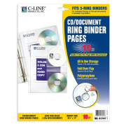 C-Line CD/Document Ring Binder Pages, 22cm x 28cm , 10 per Pack