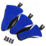 3pcs Washable Soft Strechy Golf Headcover Protective Cover Case Set No. 1 3 5