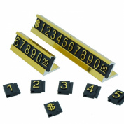 Price Display Counter Stand Label Tag, Adjustable, Golden Number and Base