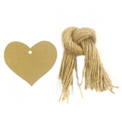 Allydrew 50 Gift Tags/Kraft Hang Tags with Free Cut Strings for Gifts, Crafts & Price Tags, True Heart