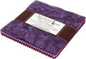 Lunn Studios PRISMA DYES PLUM PERFECT BATIKS Precut 13cm Charm Pack Cotton Fabric Quilting Squares Assortment Robert Kaufman CHS-268-42
