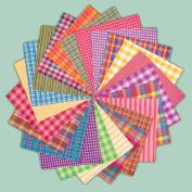 40 Bright Charm Pack, 15cm Precut Cotton Homespun Fabric Squares by Jubilee Creative Studio