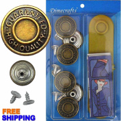 20mm GHQ Jean Buttons, 6 Set with Tool