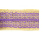 Trimweaver 2-Yard Natural Burlap Ribbon with Purple Lace for Crafting, 6.4cm
