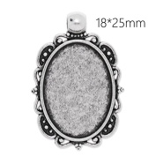 New Style Antique Silver Plated Lace Edge Pendant Trays with 18x25mm Oval Blank Bezel-20pcs/lot