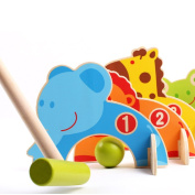 coffled ® Children Outdoor Family Educational Games Cartoon Animal Croquet Toy Game Wooden Golf Toys