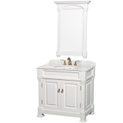 Wyndham Collection Andover 90cm Single Bathroom Vanity in White, White Carrera Marble Countertop, White Undermount Round Sink, and 70cm Mirror