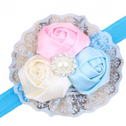 Culater® 1PC Lovely Baby Girls Hair Band Rose Pearl Diamond Lace Baby Headband