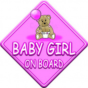 TED BALL * BABY GIRL ON BOARD * car window sign