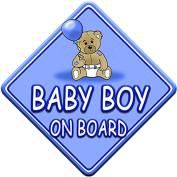 TED BALL * BABY BOY ON BOARD * car window sign