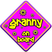 """FLORAL * granny on board """" novelty baby on board car window sign"""
