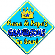 SWIRL JEWEL * Nana & Papa's GRANDSONS * On Board Novelty Car Window Sign