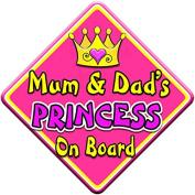 SWIRL JEWEL * Mum & Dad's PRINCESS * On Board Novelty Car Window Sign