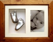 BabyRice 3D Baby Casting Kit with Rustic Wooden Display Frame, Silver painted Hand and Foot casts