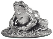 Silver Frog. Miniature sterling silver figurine. Hallmarked. Made in England. Valentine gift for him or her.