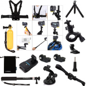 Luxebell 14-in-1 Accessories Bundle Kit for Sony Action Cam HDR-AS15/AS20/AS30V/AS100V/AS200V/Sony Action Cam HDR-AZ1 Mini Sony FDR-X1000V/W 4K Cameras, Helmet Strap Mount + Handheld Monopod Extendable Telescope Pole + Chest Strap Mount + Floating Hand ..