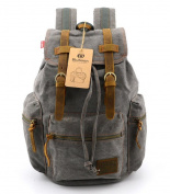 BLUBOON(TM) New Vintage Canvas Leather Backpack Mens Backpacks Rucksacks for Hiking/School/Outdoor