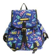 LYDC Anna Smith Backpack Canvas Yes No Print Coloured School College Womens Gift Fabric Cotton Pockets