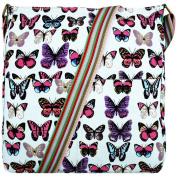 Butterfly Print Canvas Cross Body Satchel Messenger Bag
