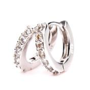 HITTIME Sterling Silver A Single Row Of Diamonds Sparkling Stars Hoop Earrings