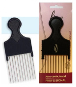Afro Detangling Comb with Long & Wide Metal Teeth