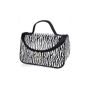 Zebra White Pattern Cosmetic Make up Travel Package Case Pouch - Model 172 [ARTUROLUDWIG]