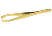 Gold-Plated Tweezers - 9 cm - Straight - Stainless Steel - BS Doppelkopf Solingen