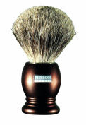 Plissons 955805 Shaving Brush - Size 12 - Chocolate-Coloured Handle with Pure Grey Bristles