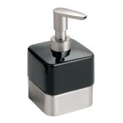 InterDesign Gia Ceramic Soap & Lotion Dispenser, for Kitchen or Bathroom Countertops- Black/Brushed