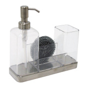 InterDesign Brushed Stainless Steel Forma 2 Soap and Brush Caddy, Clear