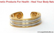 MAGNETIC THERAPY RING 3307 BANDED STYLE SILVER / GOLD PLATED ON COPPER