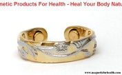 MAGNETIC THERAPY RING 3302 FLORAL EMBOSSED STYLE SILVER / GOLD PLATED ON COPPER