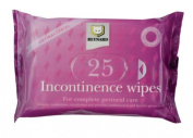 25 Pack Incontinence Moisture Deodorising Cleaning Wipes
