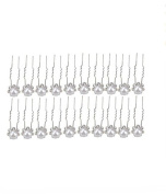 Monkeybrother 20pcs bridal hair jewellery with pearl comb rhinestone flower shape hairpin for Bride White