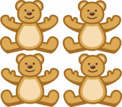 Cute Teddy Bears Sticker for Children's Room, Nursery Set of 4 20 x 21 CM, Adhesive Decoration for walls, mirrors, windows, doors, Möbel...