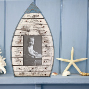 Rustic Nautical Wooden Boat Wall Photo Frame in Blue & Cream - 22 x 36 cm Blue Cream 22x36cm