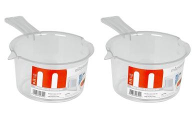 2 x Plastic Microwave Saucepans 500ML White Non Lidded