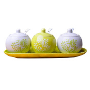 Set of 3 Ceramic Spice Jar Seasoning Containers With Spoon Green Tree