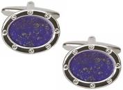 Blue/Silver Lapis Lazuli Oval Cufflinks by David Van Hagen
