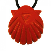 Scallop Shell Pendant made with Red Jasper